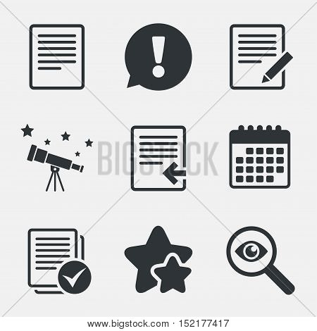 File document icons. Upload file symbol. Edit content with pencil sign. Select file with checkbox. Attention, investigate and stars icons. Telescope and calendar signs. Vector