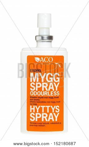 Stockholm, Sweden - January 13, 2014: A spray bottle of insect repellent against mosquitoes and black flies for the Swedish market produced by the ACO isolated on white background.