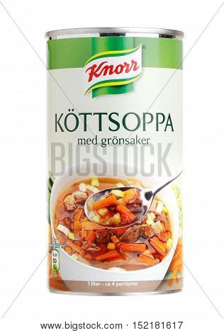 Stockholm, Sweden - September 28, 2013: Caned Knorr meat soup with vegetables for the Swedish market isolated on white background.