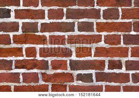 New brick wall built of antique red bricks.