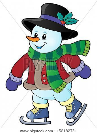 Skating snowman theme image 1 - eps10 vector illustration.