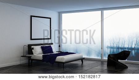 Bedroom with blank square picture frame above bed beside chair in front of misty windows. 3d Rendering.