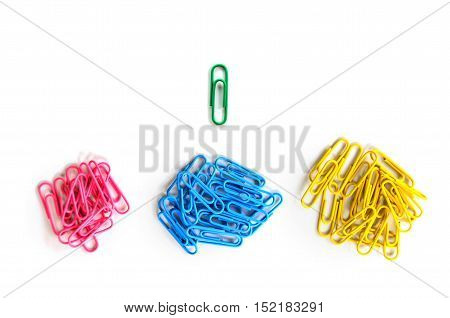 bright green paper clip unique idea concept on white background