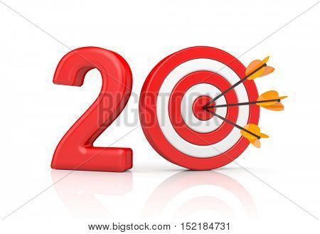 Red stripe targets with arrow form the red number 20. Accurate shot metaphors. 3d illustration
