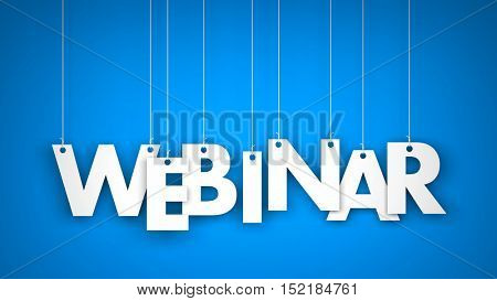 White word Webinar on blue background. Webinar illustration. 3d illustration
