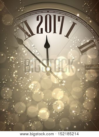 2017 New Year sepia background with clock. Vector illustration.