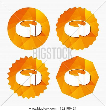 Cheese wheel sign icon. Sliced cheese symbol. Round cheese. Triangular low poly buttons with flat icon. Vector