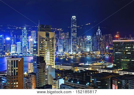 Hong kong downtown area at night