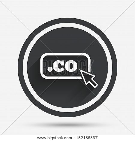 Domain CO sign icon. Top-level internet domain symbol with cursor pointer. Circle flat button with shadow and border. Vector