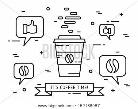 Coffee time linear vector illustration. Coffee cup mug coffee bean thumb up approval speech cloud creative graphic concept. Graphic design for cafe banner.
