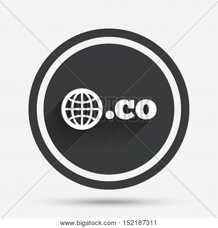 Domain CO sign icon. Top-level internet domain symbol with globe. Circle flat button with shadow and border. Vector