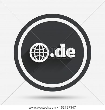 Domain DE sign icon. Top-level internet domain symbol with globe. Circle flat button with shadow and border. Vector