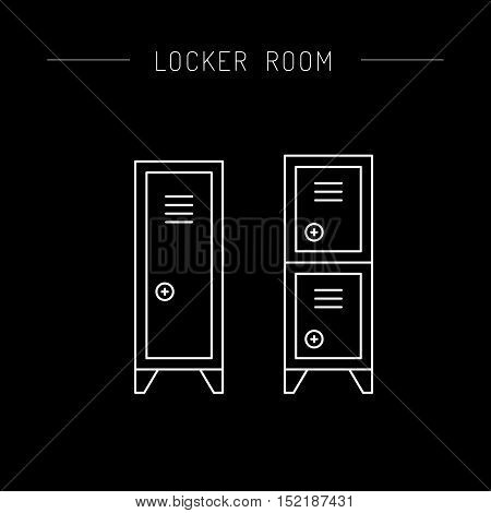Steel cabinet in the locker rooms, front view and top view. The security storage.