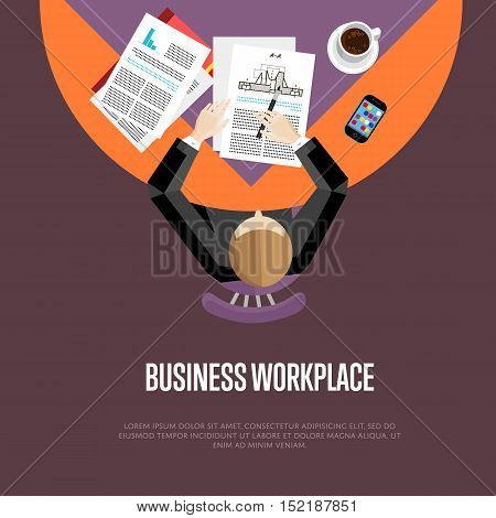 Top view business workplace, vector illustration. Overhead view of businessman working with financial documents at office desk. Business people banner with space for text on maroon background.