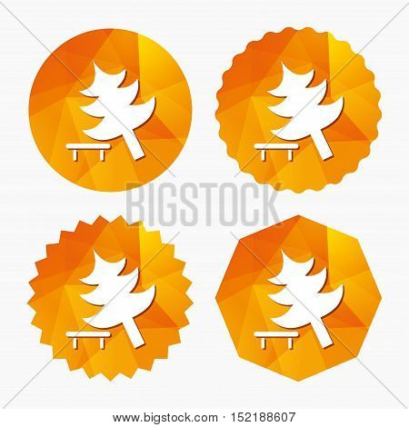 Falling tree sign icon. Caution break down christmas tree symbol. Triangular low poly buttons with flat icon. Vector