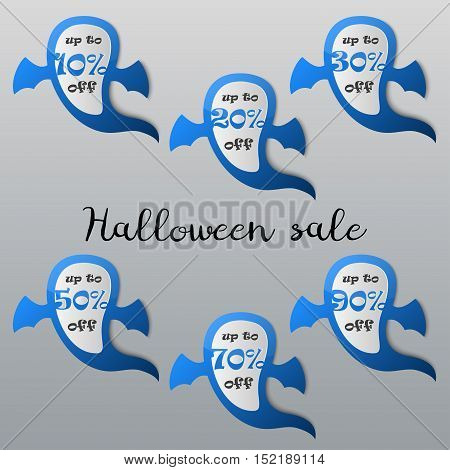 Halloween sale tags set. Halloween ghost discount icons