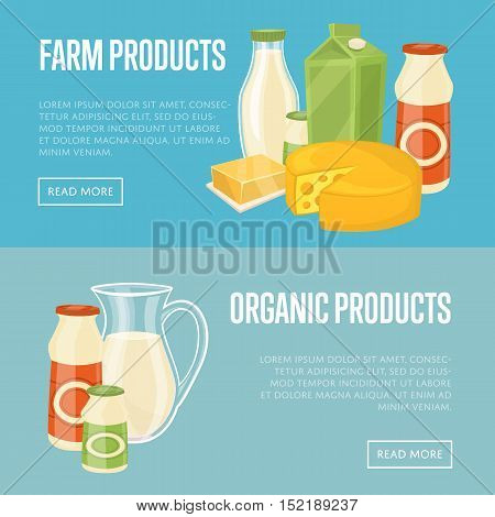 Farm and organic products horizontal website templates with different dairy composition isolated vector illustration. Natural healthy food. Organic farmers food. Organic food and dairy product concept. Milk product icon. Cartoon dairy product. Dairy icon.