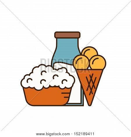 Dairy icon with ice cream, cottage cheese on plate and glass bottle with milk isolated vector illustration. Traditional and healthy products. Organic farmers food. Organic food and dairy product concept. Milk product icon. Cartoon dairy product. Dairy ico