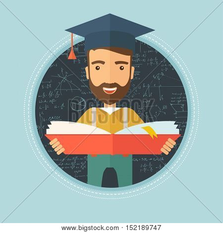 Graduate with open book in hands. Graduate in graduation cap. Graduate on a background of blackboard with mathematical equations. Vector flat design illustration in the circle isolated on background.