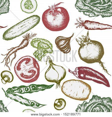 Seamless pattern hand drawn vegetables. Healthy eating vector vintage fresh vegetables illustration.