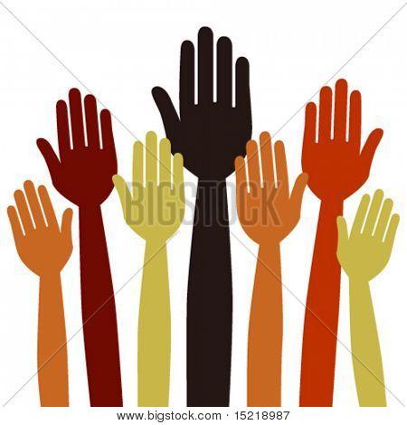 Hands volunteering or voting vector.