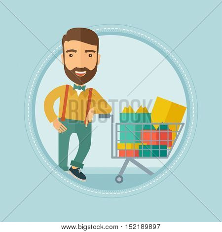 Caucasian hipster man with beard leaning on supermarket trolley full of gift boxes. Happy man buying gifts for christmas presents. Vector flat design illustration in the circle isolated on background.