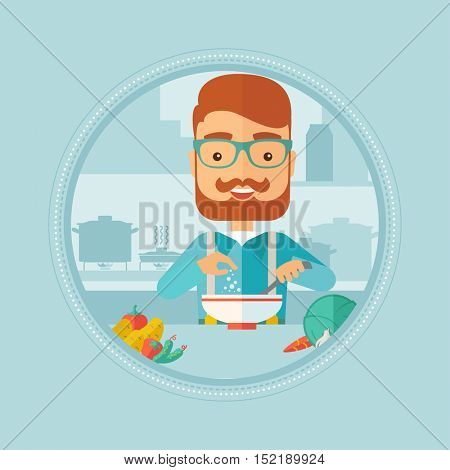 Caucasian hipster man with beard cooking vegetable salad in kitchen at home. Man adding salt or spices in a fresh healthy salad. Vector flat design illustration in the circle isolated on background.