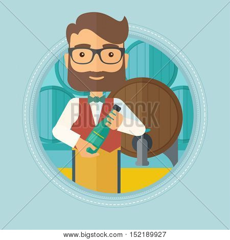 Caucasian hipster waiter with beard standing in wine cellar. Waiter with bottle in hands standing on the background of wine barrels.Vector flat design illustration in the circle isolated on background