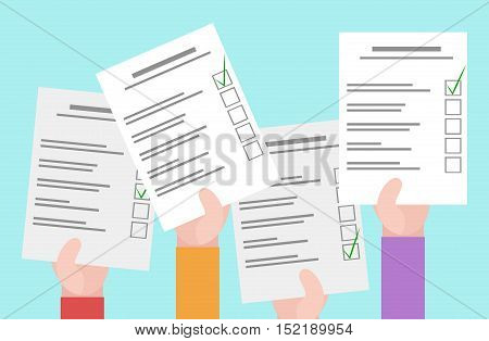 Vector flat illustration of human hands and bulletins. Elections