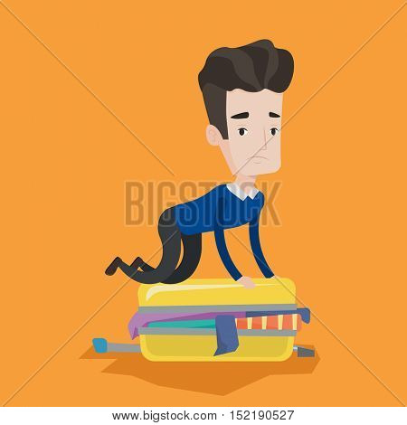 Young caucasian man sitting on suitcase and trying to close it. Frustrated man having problems with packing a lot of clothes into a single suitcase. Vector flat design illustration. Square layout.