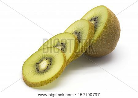 Sliced kiwifruit on the white isolated background