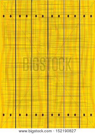 A yellow fence made of wooden planks showing the wood grain and grunge effect..