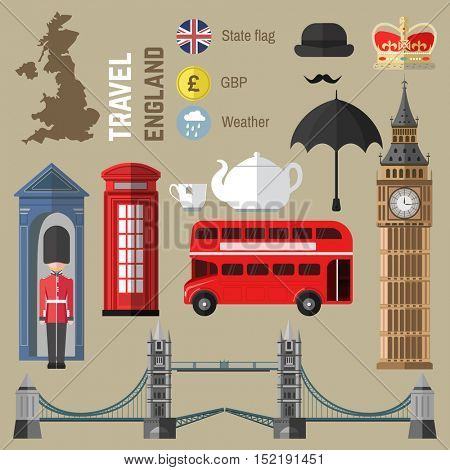 Set of London city symbols. England/United Kingdom vector illustrations. Travel icons: red bus and Tower Bridge, Big Ben and Queen, British flag and tea, telephone box and umbrella, map. Flat design.
