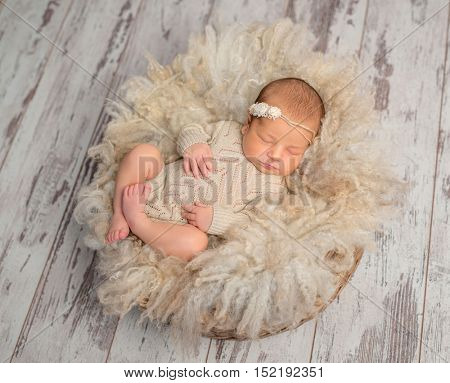 lovely sleeping newborn baby in knitted jumpsuit in basket with fluffy blanket