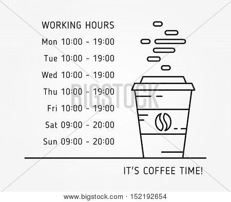 Coffee time working hours linear vector illustration on grey background. Coffee store hours of operation creative graphic concept. Graphic design template for restaurant cafe banner.
