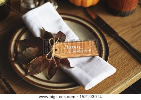Plate Knife Thanksgiving Table Setting Concept