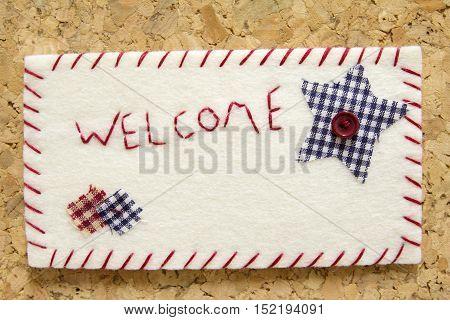 Sign velvet welcome, handmade, design, Do It Yourself