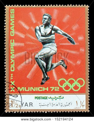 YEMEN - CIRCA 1971 : Cancelled postage stamp printed by Yemen, that shows Discus throwing.