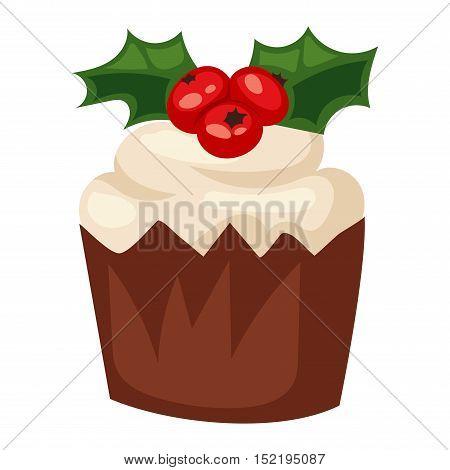 Sweet Christmas cake isolated on white. Traditional Christmas sweet cake holliday vector. Cake for New Year food sweet vector. Food fresh cake isolated