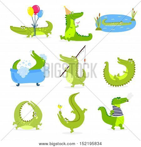 Vector set with cute cartoon crocodiles. Cartoon animal vector isolated cute crocodile green character funny predator. Nature comic humor predator cheerful alligator illustration cute crocodile.