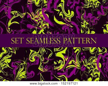 Marbling seamless pattern set. Watercolor marbling illustration. Drawing on the water. Vector illustration.