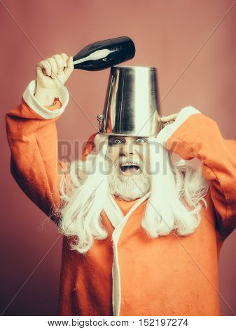 Crazy Christmas Man With Bottle In Pail