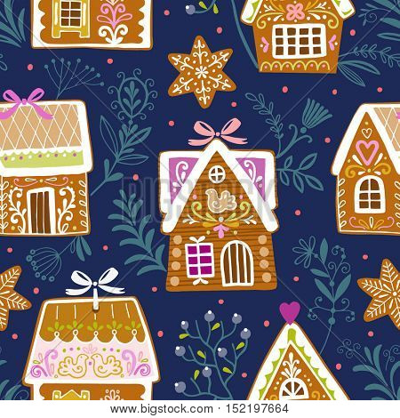 Seamless pattern with gingerbread houses and stars on blue background. Vector Christmas illustration