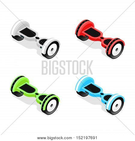 Gyroscooter Color Set Isometric View Hoverboard, Two-Wheel Self-Balancing Scooter. Vector illustration