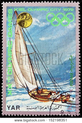 YEMEN - CIRCA 1971 : Cancelled postage stamp printed by Yemen, that shows Sailing.