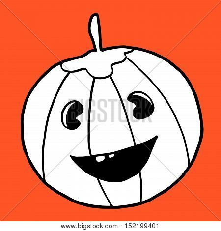 Smiling Halloween toothy pumpkin isolated on orange background. Beautiful funny doodle for Halloween holidays design, prints, cards, invitations, flyers and stickers, wrapping paper.