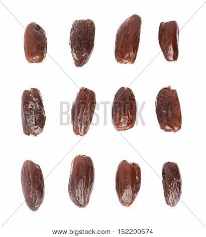 Many date fruits over isolated white background surface