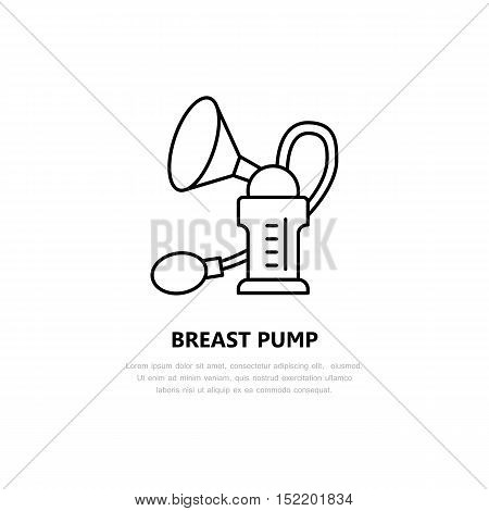 Modern vector line icon of breast pump. Linear illustration of mothers breast milk in bottle. Outline healthy food for newborn baby symbol. Manual and automatic breast pump