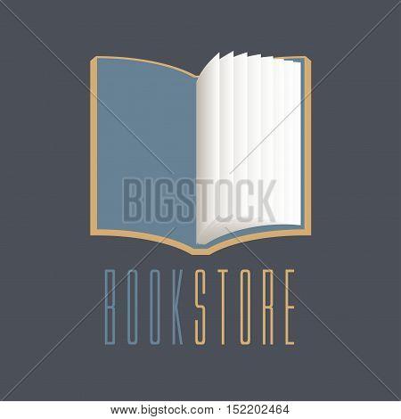 Bookstore bookshop vector sign icon symbol emblem logo. Graphic design element with open book