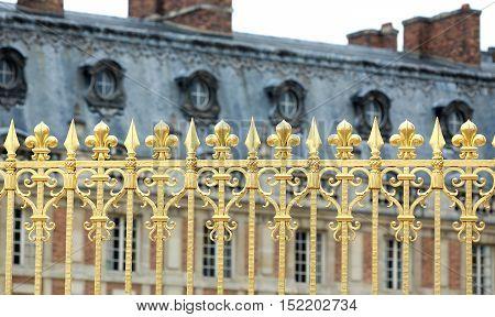 Versailles Palace Park golden gate details. France